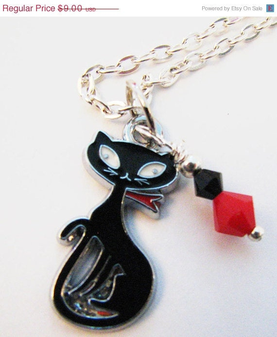 Black Siamese Cat Necklace ,Pandora style, Red  Swarovski Crystals, evil cat, Gift wrapped, Anti Valentine Jewelry, Teen or Tween gift - Sew4Munchkins