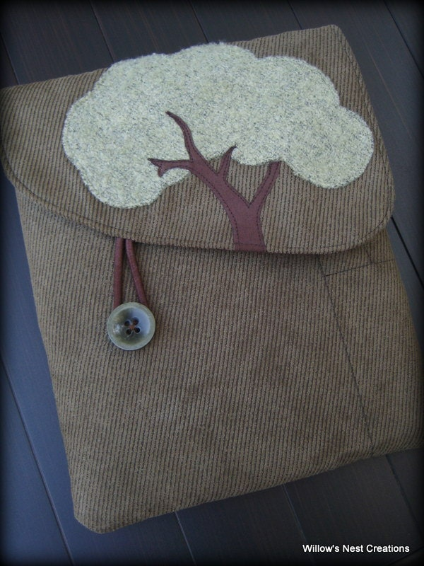 Woodsy Forest Tablet Case Made from Upcycled Fabrics in Olive Green - WillowsNestCreations