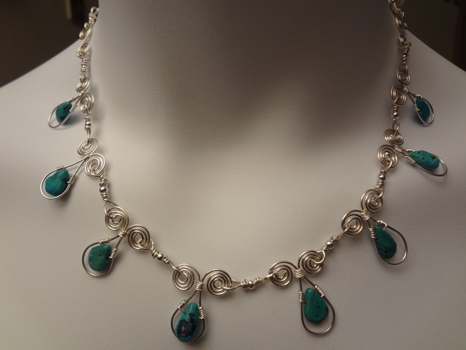 Genuine Turquoise Necklace. Sterling Silver.Wire Wrapped.Handmade.100% Genuine.