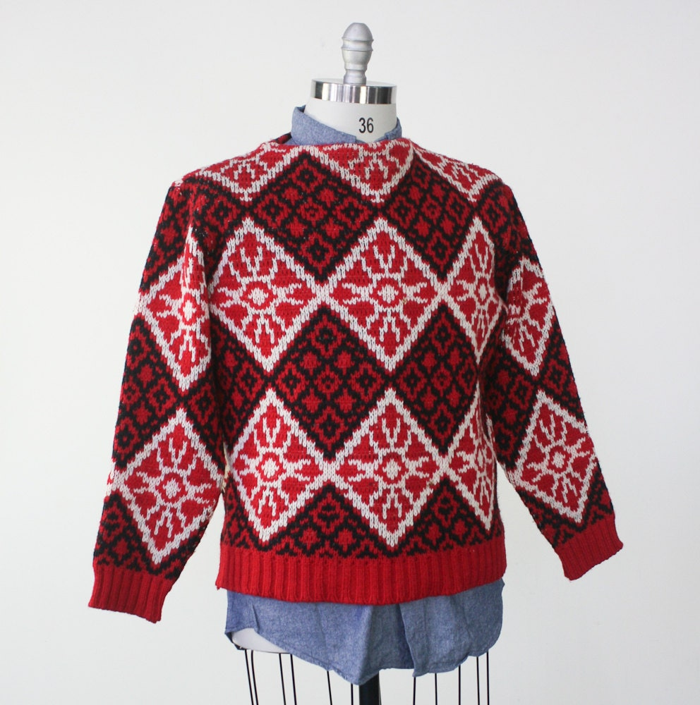 Scandinavian print red white black sweater / Norwegian ski sweater / 1960s wool sweater - dustyrosevintage