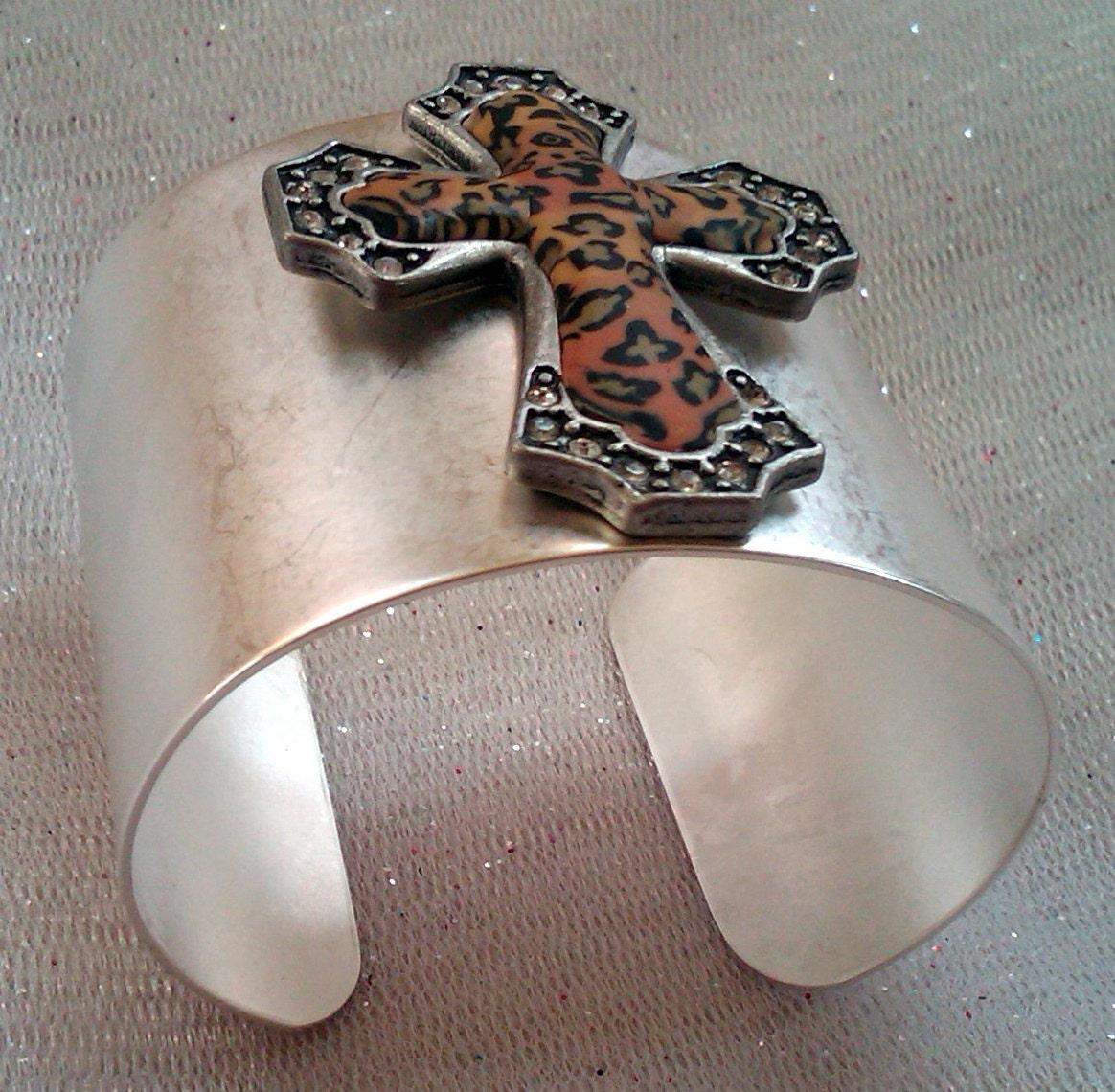 "Cuff Bracelets, Sterling Silver Cuff Bracelets, Leather Bracelets, ""CHEETAH"""