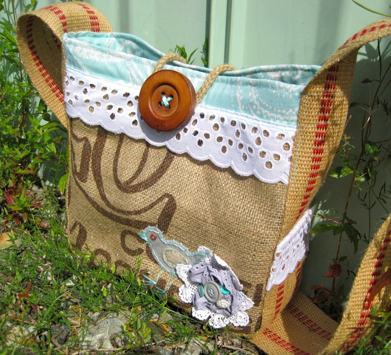Leah Hip Bag in upcycled coffee bag, minty-seafoam, & vintage lace handmade flower