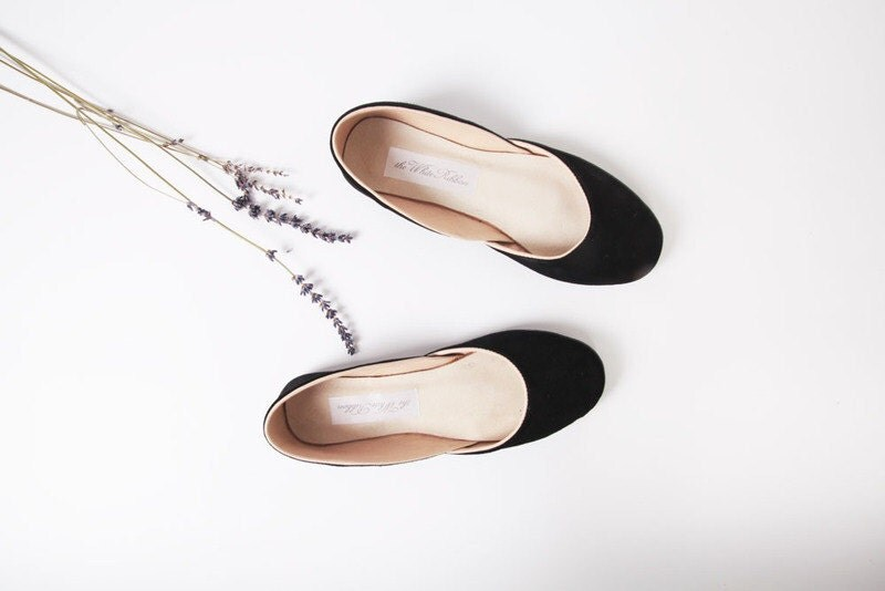 up-cycled suede ballet flats. black velvet. made to order. - thewhiteribbon