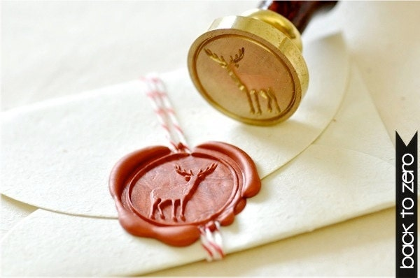 Deer Gold Plated Wax Seal Stamp x 1 - BacktoZero
