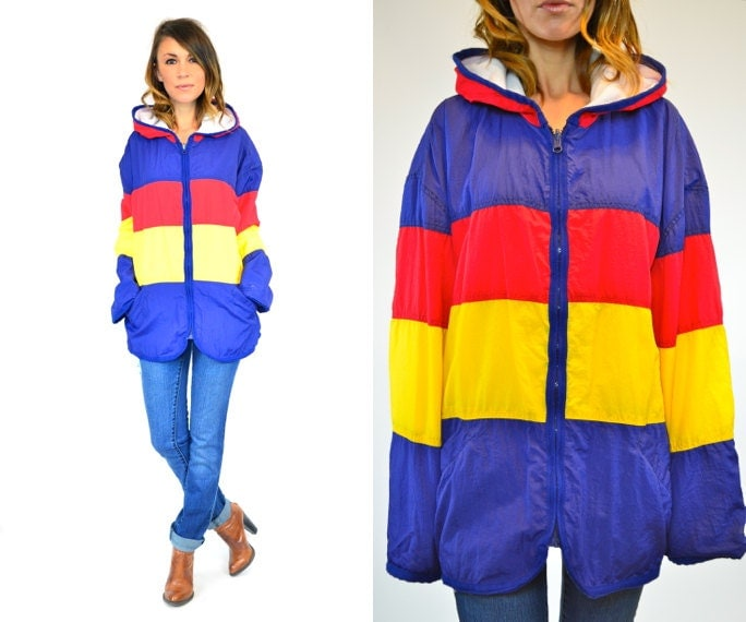 primary COLORBLOCK preppy HOODED lightweight WINDBREAKER jacket, extra small-large - discoleafvintage