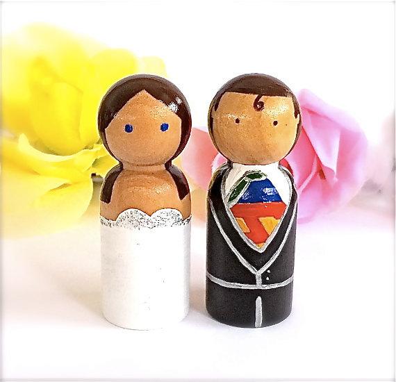 Superman Wedding Cake Toppers Superhero Bride and Groom Custom Clark Kent