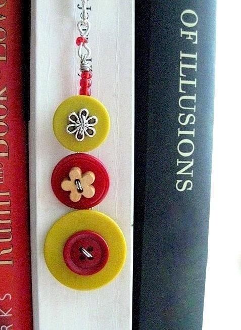 Jumbo Bookmark. Oversized Shepherds Hook & Bright Buttons. Big Book Mark or Shelf Decoration