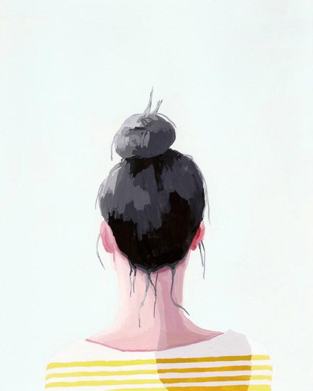 "hair art - bun print - ""Top Knot 19"" giclee print"