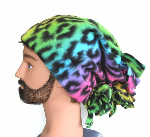Rainbow Animal Print Downhill Slope Fleece Ski Hat Unisex Genie Style