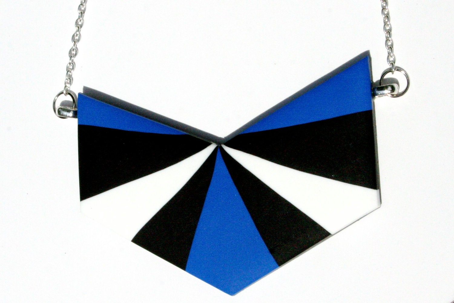 Chevron Necklace in Electric Blue Black and White