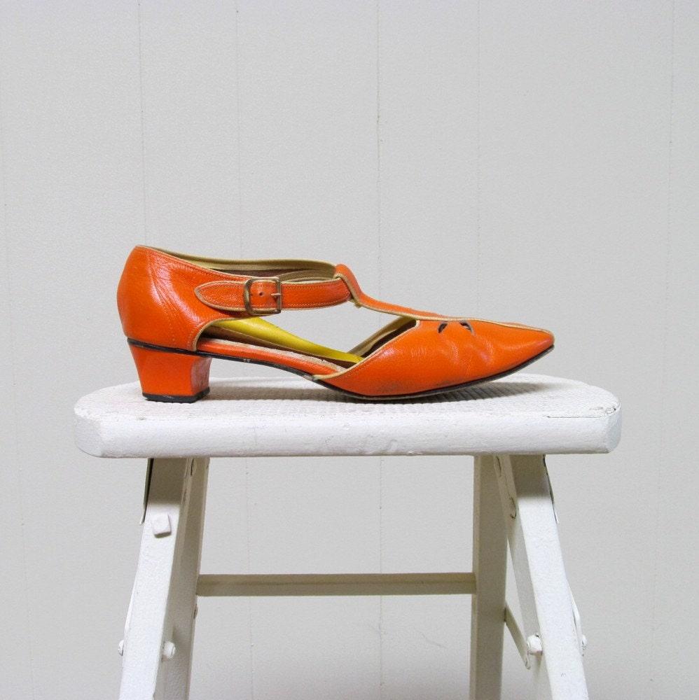 vintage orange shoes