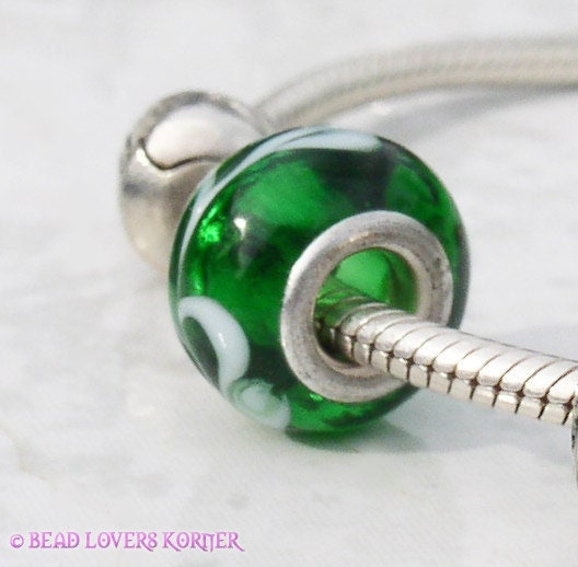 Green White Glass Charm by Bead Lovers Korner on Upcycle Fever