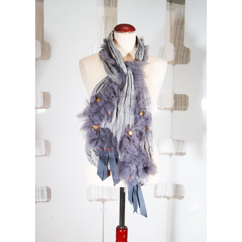 SALE  Romantic Linen Scarf  handmade  soft gray  shrug  studded  Handmade Scarves For Sale Online