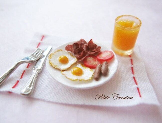 Breakfast Set (1/12th Scale Dollhouse Miniature) - PetiteCreation