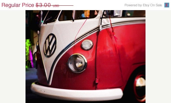 50 % OFF Vintage Red Volkswagon Bug Bus Print Digital Download Photograph Hot Rod Commercial Use Digital Collage Sheet