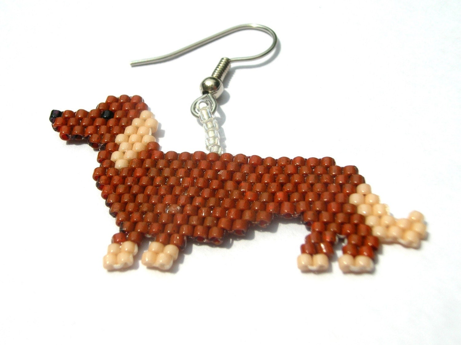 Made to Order Brown And Tan Dachshund Beaded Dangle Earrings