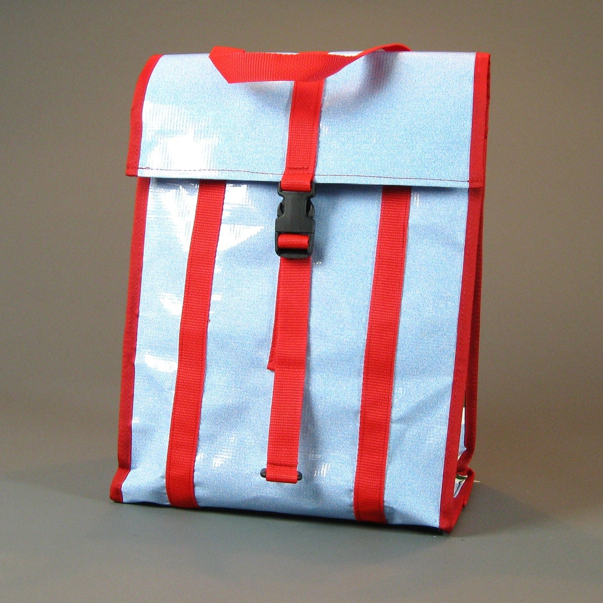 Grocery Pannier Salvaged Banners Blue & Red by NorthStBags