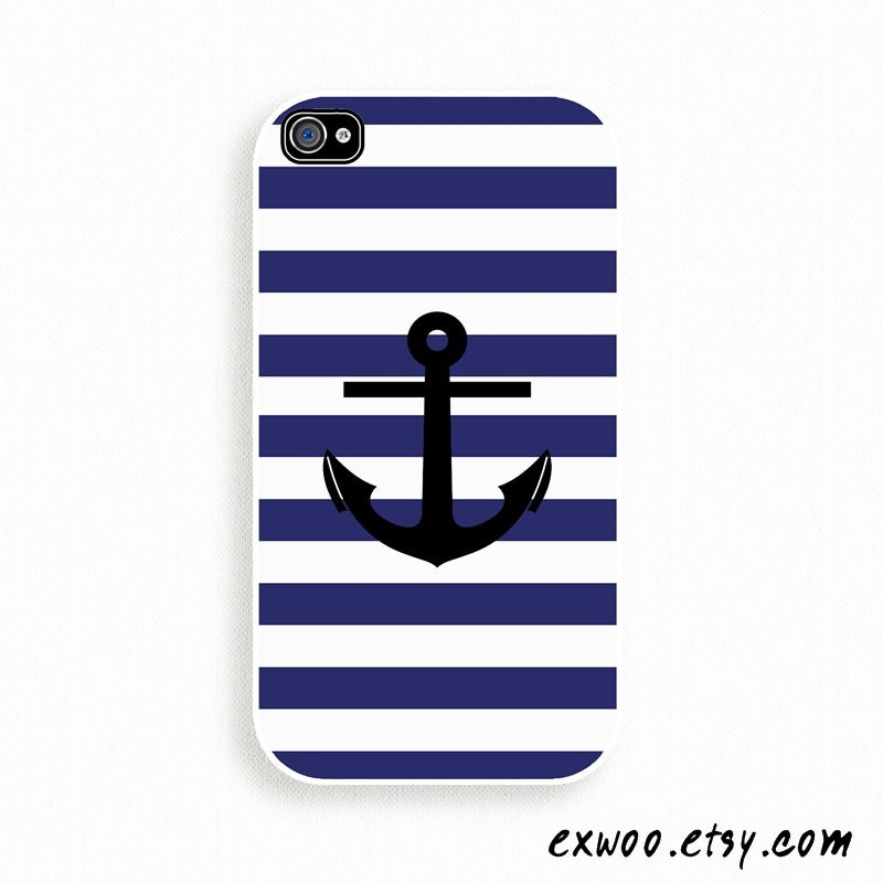 iPhone 4 Case, iPhone case, iPhone 4s Case, iPhone 4 Cover, Hard iPhone 4s Case - Anchor Navy