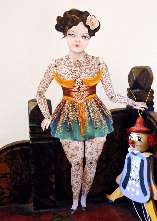 Victorian Tattooed Gal Paper Puppet Doll