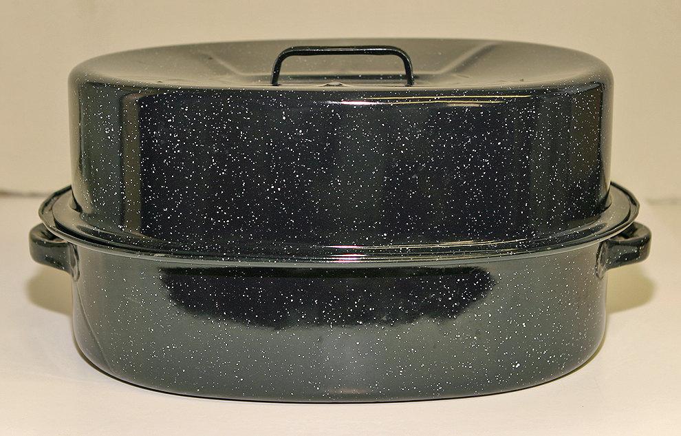 Vintage   Black White Granite Cake Pan