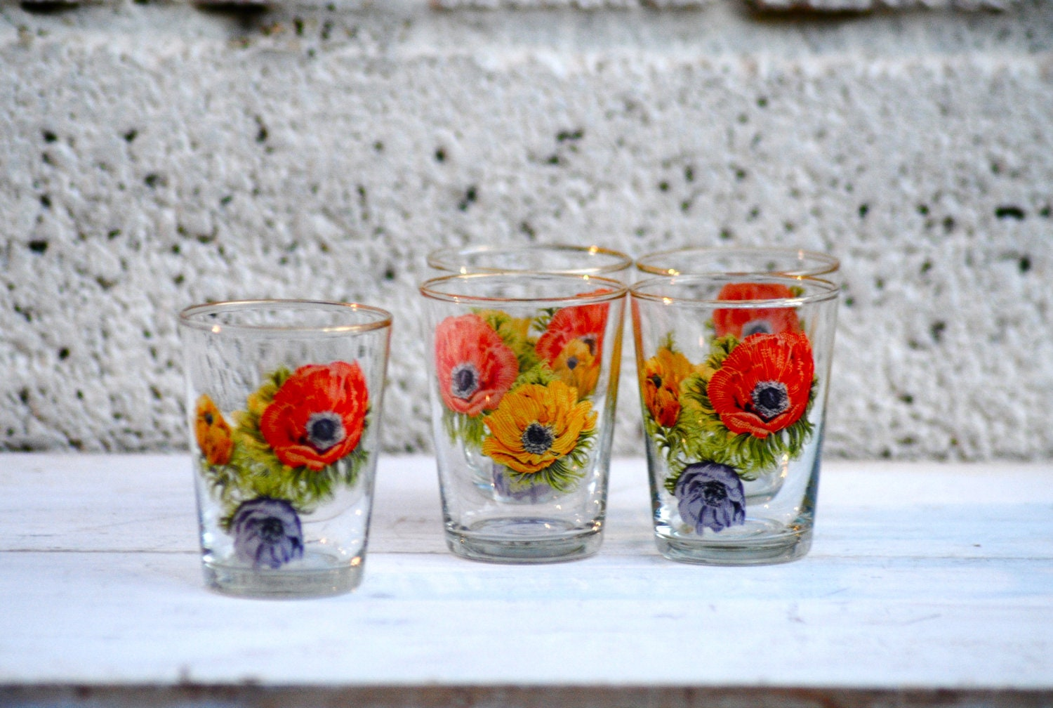Vintage Shot Glasses set of 5 Retro Poppy Flower design Autumn Poppies Yellow Gold Orange