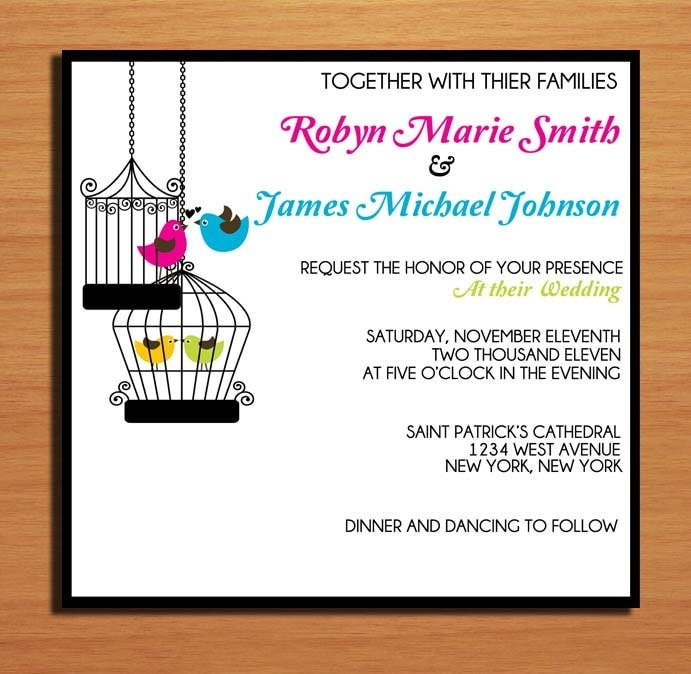 Vintage Birdcage Wedding Invitation PRINTABLE DIY