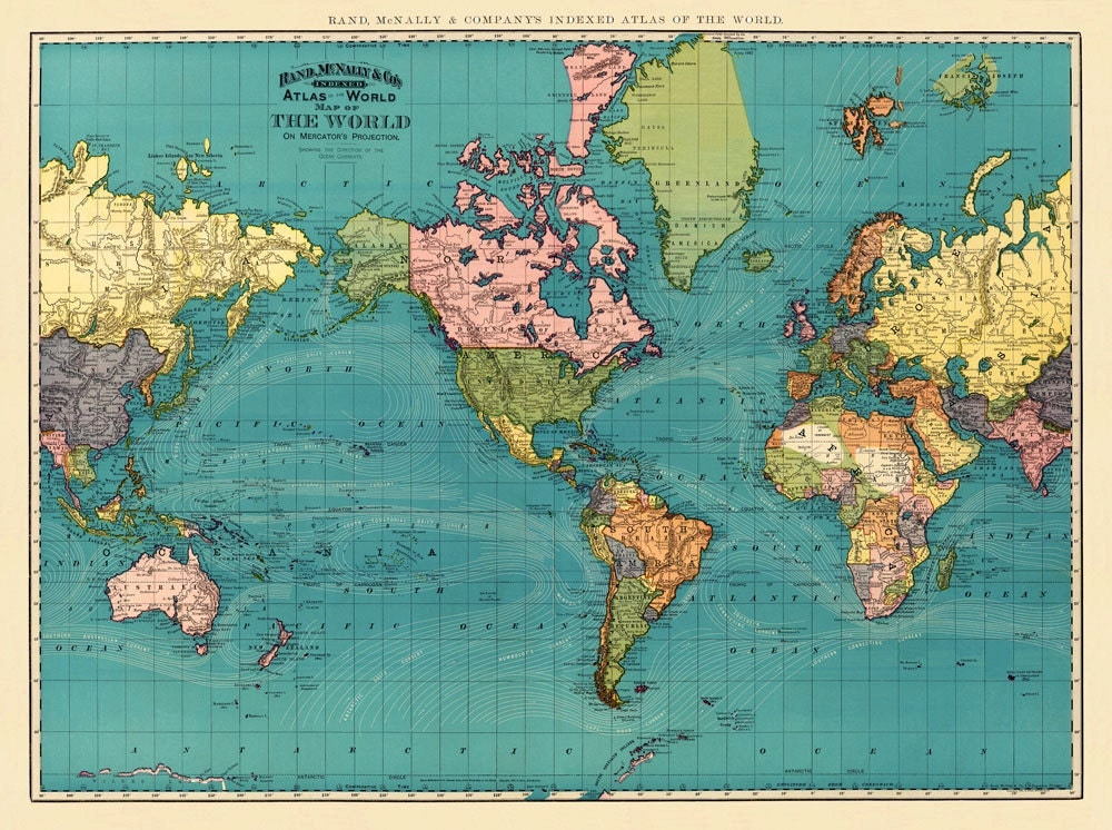 Large Vintage World Map Posters