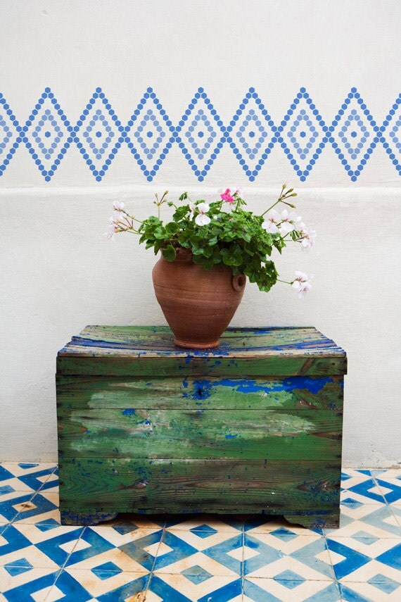 Border Stencil Large Hexagons Moroccan Stencil for Wall Decor and More
