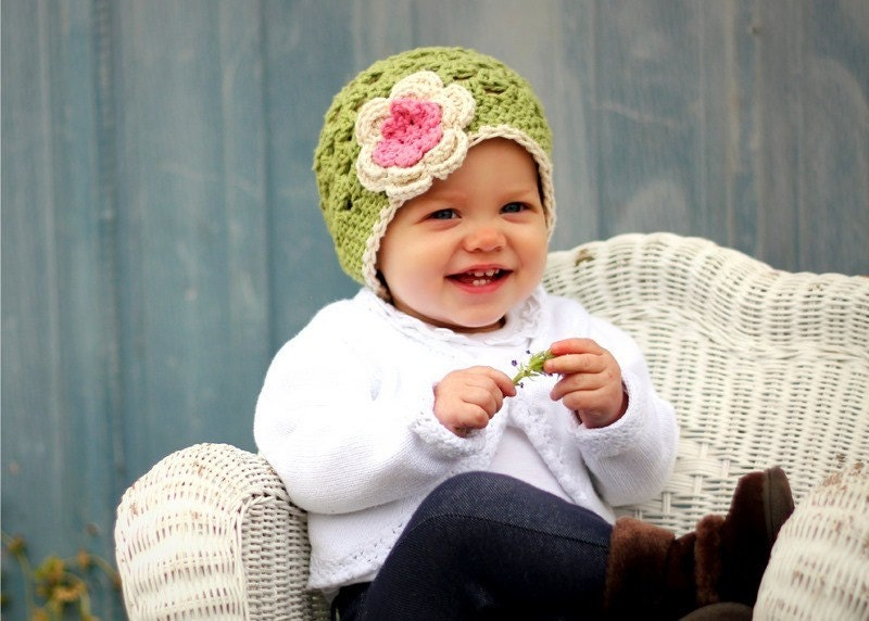 Baby Hat  Beanie Green with Pink and Ecru Flower - Infant/Toddler/Child
