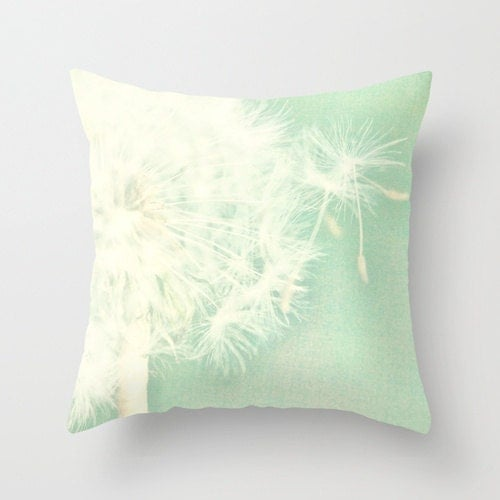 Throw Pillow Cover Mint Green Dandelion photo - SylviaCPhotography