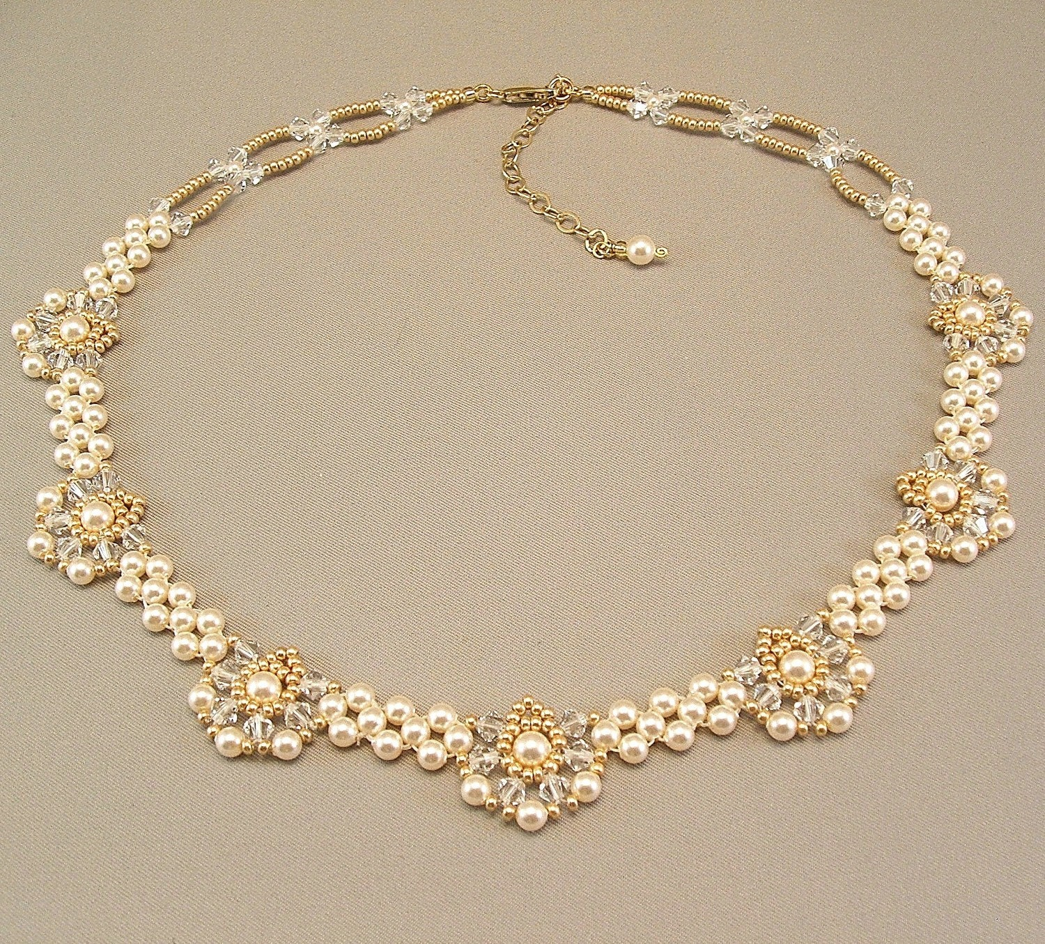Regal Elegance Woven  Bridal Necklace   Ivory Pearls by Handwired from etsy.com