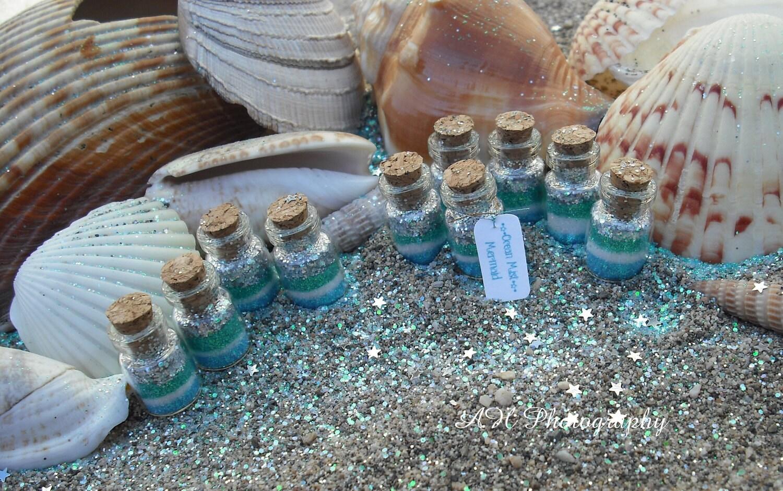Mermaid Favors set of 10 Ocean Mist Mermaid jars, Mermaid Party Favors, blue, green, silver