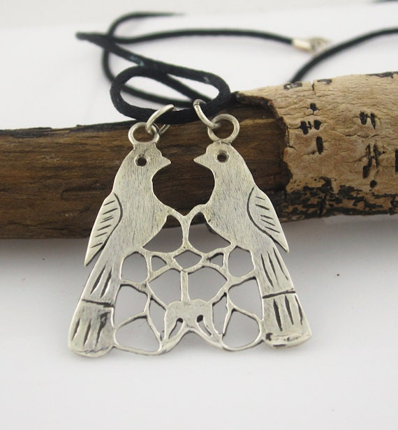 Anatolian Seljukian Birds Necklace in Sterling Silver - serpilguneysudesigns