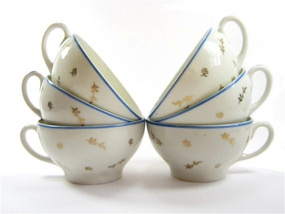 Vintage french porcelain tea /coffee set service  Limoges porcelain gold and blue - lefrenchshop