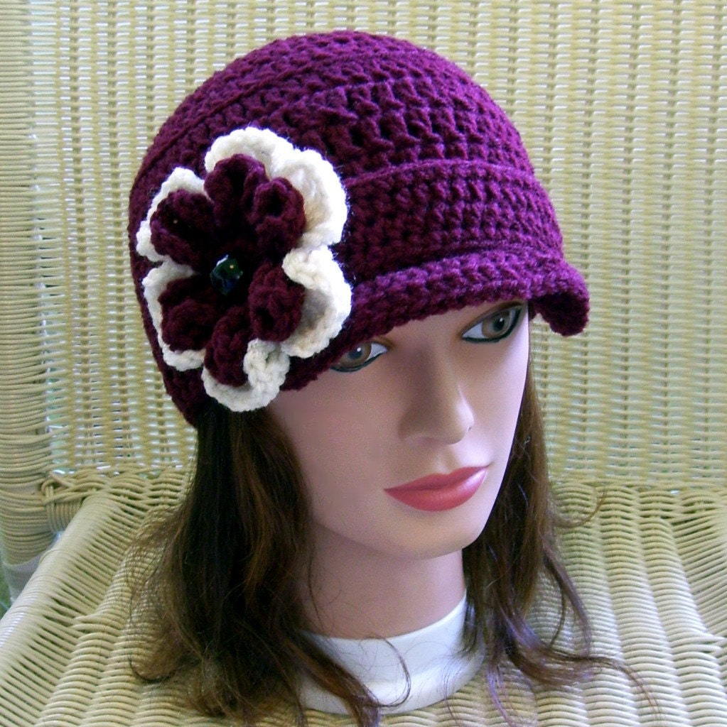 Crocheted Newsboy Hat Claret with Removable Flower Pin