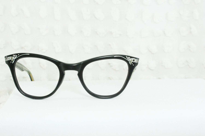 Black Cat Eye 1950's Horn Rim Eyeglasses Rhinestone Decorated Wide 46/22 Squared Lens High Quality Hybrid Optical Frame - THAYEReyewear