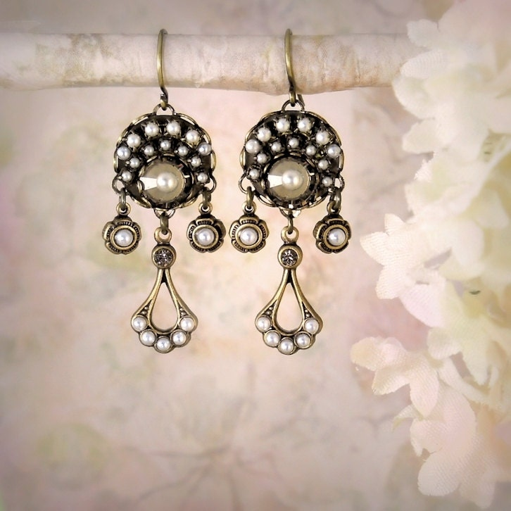 Eclipse Mosaic Pearl Earrings Vintage Gatsby Style by MiaMontgomery :  micro mosaic maid of honor beach wedding earrings