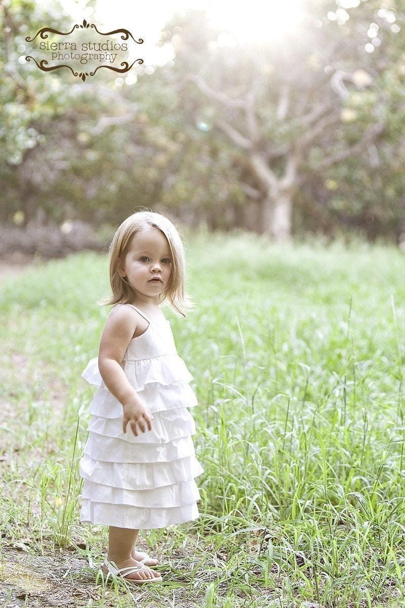 Beautiful Organic Ivory Ruffle Dress..NB, 3m, 6m, 9m, 12m, 18m, 2T, 3T, 4T..dressbabybeautiful