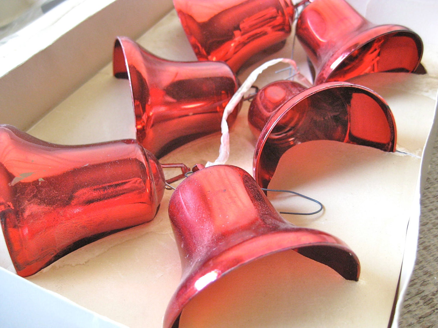 6 Vintage Red Christmas Bells -  Made by Bradford and Still in their Box