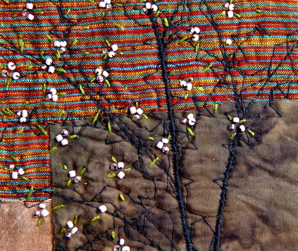 SPRING TREE,  Mini Textile Art, Embroidery Art, Wall Art, Unique Gift - BozenaWojtaszek