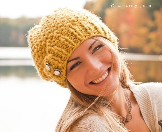 Hand Knit Hat Womens Hat - The Seed Beret Hat in Citron Yellow - Winter Fashion Winter Accessories Chunky Knit