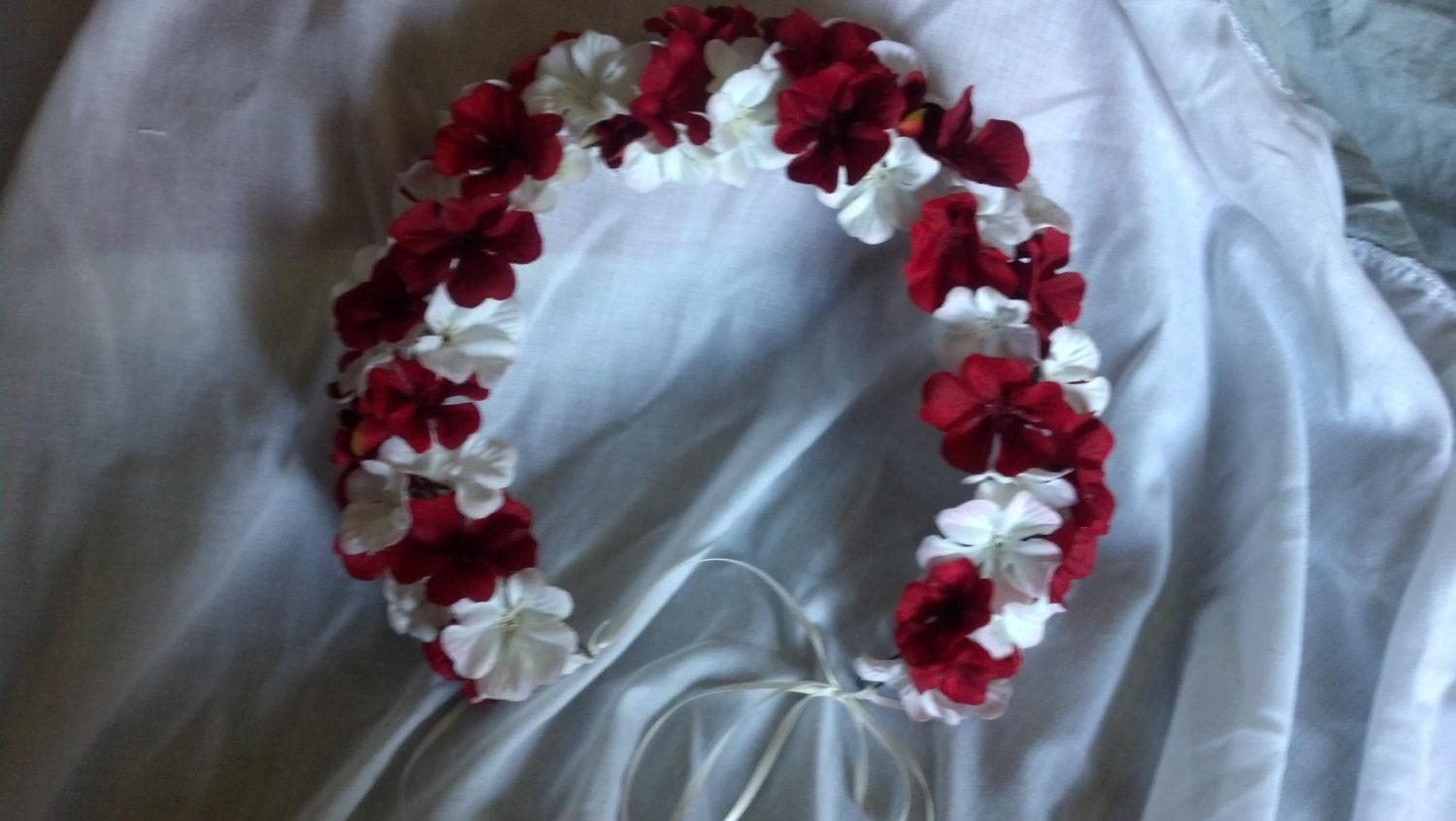 Red And White Geranium Brides Flower Crown Floral Headband On The Hunt