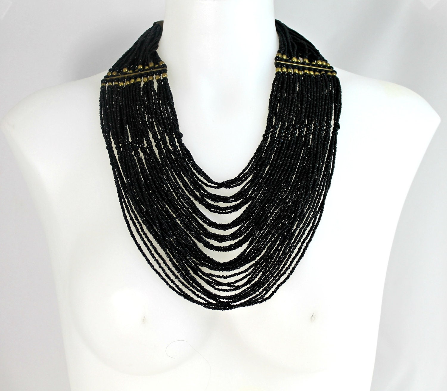 Vintage necklace black Art Deco waterfall glass cascading seed beads with bronze accents