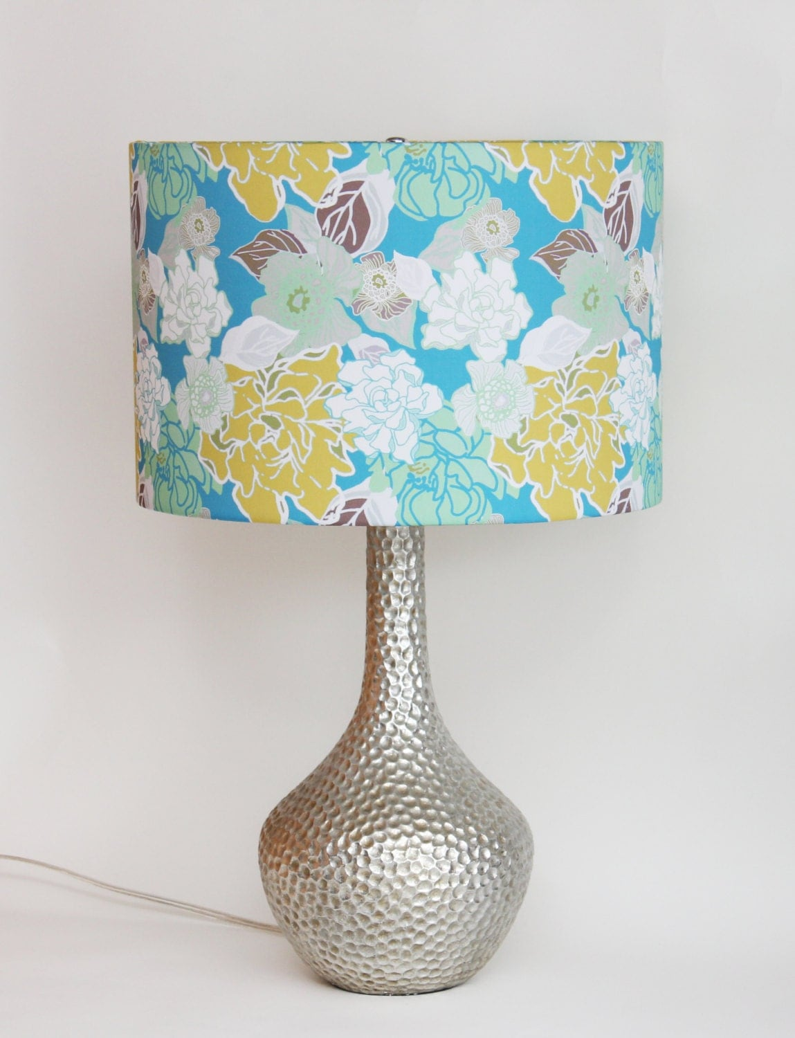 lamp shade 14 drum vintage floral turquoise yellow mint white. Black Bedroom Furniture Sets. Home Design Ideas
