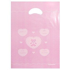 50 bear Opaque Cut Out Handle Plastic Bags-25cmx35cm, 2Color