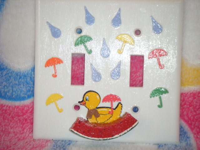PENNIES On The DOLLAR Sale 3-D Duckie Double Switch Plate Cover Watermelon Boat Free Shipping Etsy