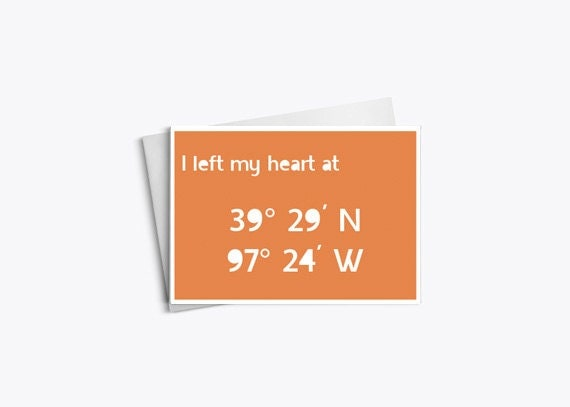 Love Cards, Missing You Cards, Personalized Longitude Latitude Cards, 6.25x4.5 - LarkRoadRhymes