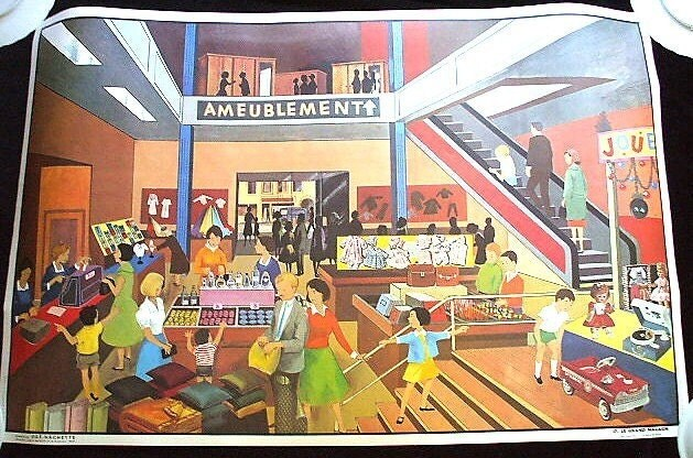 French Department Store Vintage Poster 1950s Mid Century France Bathroom - LeTrip