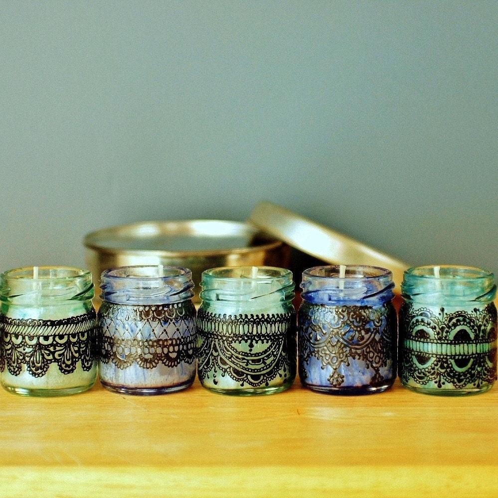 Набор из трех марокканских Inspired мини-Jar свечи Синее стекло с черными кружевами Детализация