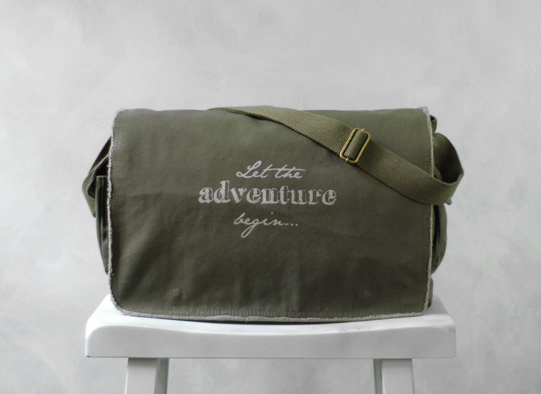 Messenger Bag - Let the Adventure Begin... - School Bag - Khaki Green - Canvas Bag
